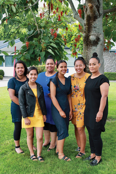 These women share proud family connections with Hastings Girls' High School: Shannon Edwards, Valencia Wainohu, Brenda Wainohu, Acacia Edwards, Kahlia Awa, Shontelle Awa.