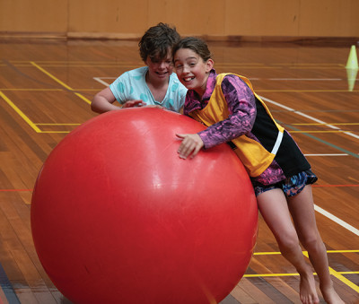 Kate and Ava enjoy Rakiura's gym, which is a wonderful facility for the school and community.