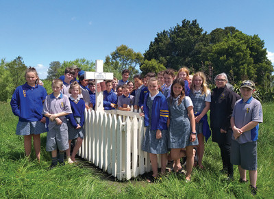 Students from Matamata Intermediate visited the gravesite of Tarore as part of their EOTC experience in 2019. They are accompanied by kaumātua from Raungaiti Marae, where they had a noho.