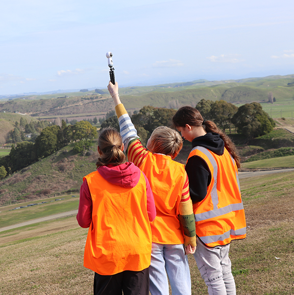 Napier Girls' High School students take 3D photographs at the landfill to create an interactive augmented reality activity.