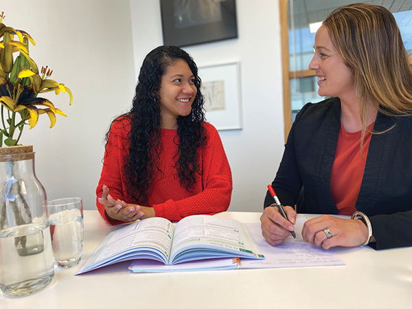 Nathalia Grajales and teacher Johanna Hamilton work together in Invercargill's Accelerated Literacy programme. Photo credit: Nikki Dermody.