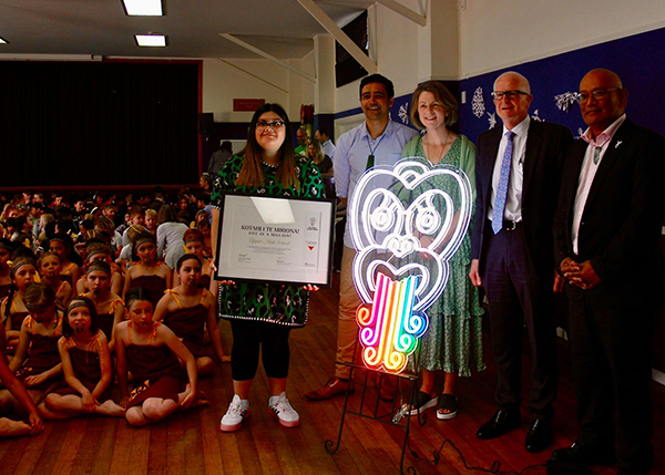Upper Hutt School's efforts to get people involved with Māori Language Moment  are acknowledged by Te Taura Whiri i te reo Māori