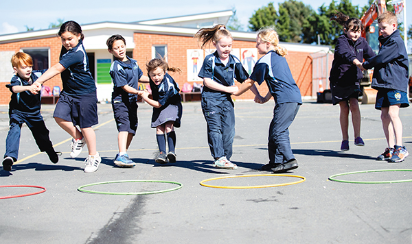 Year 2 students at Milton Primary School:  Abel, Zion, Hemi, Taya, Annalise, Zoe, Ruby, Ned engaged in some playful collaboration.