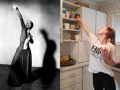 Renee, Year 12, emulates Martha Graham in a pose from American Provincials.