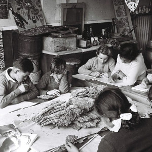 Students study a wasps' nest at Oruaiti School in the 1960s.
